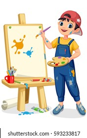 Cute artist little boy painting on canvas