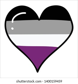 Cute asexual pride flag heart cartoon vector illustration motif set. Hand drawn isolated LGBTQ+ romantic elements clipart for wedding blog, valentines day graphic, love web buttons.