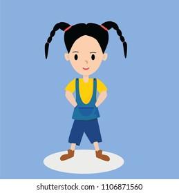 Cute Asian Baby girl character