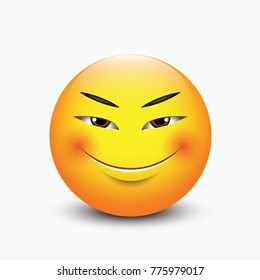 Cute Asian emoticon - emoji, smiley - vector illustration