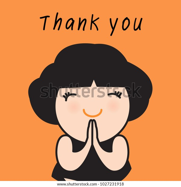 Cute Asian Girl Gesture Thank You Stock Vector (Royalty ...
