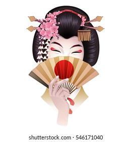 Cute asian girl hiding her face under the golden fan. Vector portrait of young woman with traditional japanese hairstyle