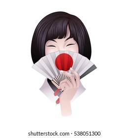 Cute asian girl with short hairs hiding her face under the traditional japanese fan. Vector portrait isolated on white background