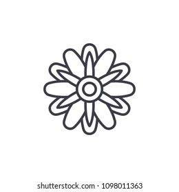 Cute aster  line icon concept. Cute aster  flat vector sign, symbol, illustration.