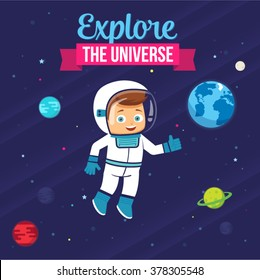 Cute Astronaut Child Design. Vector Child Illustration in the space with planets, stars, Earth globe. Explore The Universe Boy. Ideal for Children's Book Cover