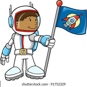 Cute Astronaut Color Cartoon boy Sketch Doodle Vector Art Illustration