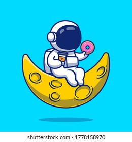 Cute Astronaut With Donut And Coffee On Moon Cartoon Vector Icon Illustration. People Science Icon Concept Isolated Premium Vector. Flat Cartoon Style