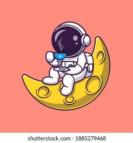 Cute Astronaut Drinking Coffee On The Moon Cartoon Vector Icon Illustration. Science Food Icon Concept Isolated Premium Vector. Flat Cartoon Style