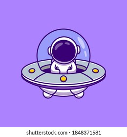 Cute Astronaut Driving Spaceship UFO Cartoon Vector Icon Illustration. Science Technology Icon Concept Isolated Premium Vector. Flat Cartoon Style