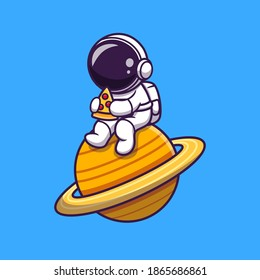 Cute Astronaut Eating Pizza On The Planet Cartoon Vector Icon Illustration. Science Food Icon Concept Isolated Premium Vector. Flat Cartoon Style