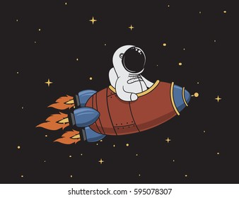 Cute astronaut flying in outer space on spaceship.Character design.Vintage childish vector illustration