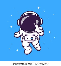 Cute Astronaut Flying In Space Cartoon Vector Icon Illustration. Science Technology Icon Concept Isolated Premium Vector. Flat Cartoon Style