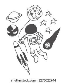 Cute astronaut holding balloon, print, t shirt design, doodles
