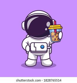 Cute Astronaut Holding Boba Milk Tea Cartoon Vector Icon Illustration. Science Food And Drink Icon Concept Isolated Premium Vector. Flat Cartoon Style