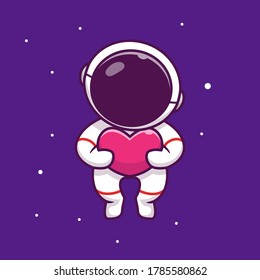 Cute Astronaut Holding Love In Space Cartoon Vector Icon Illustration. People Science Space Icon Concept Isolated Premium Vector. Flat Cartoon Style