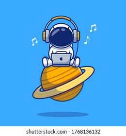 Cute Astronaut Listening Music With Laptop And Headphone Cartoon Vector Icon Illustration. Space Icon Concept Isolated Premium Vector. Flat Cartoon Style