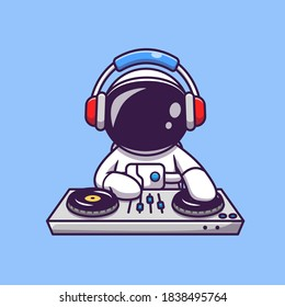 Cute Astronaut Playing DJ Electronic Music With Headphone Cartoon Vector Icon Illustration. Science Technology Icon Concept Isolated Premium Vector. Flat Cartoon Style