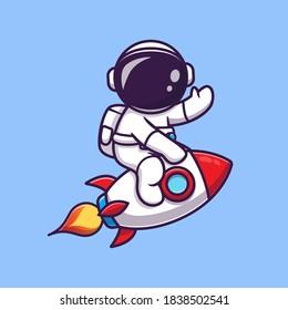 Cute Astronaut Riding Rocket Cartoon Vector Icon Illustration. Science Technology Icon Concept Isolated Premium Vector. Flat Cartoon Style