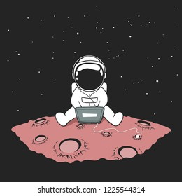 Cute an astronaut sits in internet and listens to music on a computer in outer space on planet.Space vector illustration
