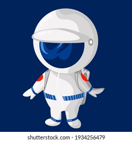 cute astronaut in a space suit stands with a helmet on a blue background. Vector image.