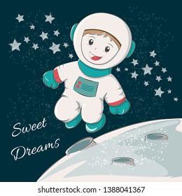 Cute astronaut sweet dreams. Vector illustration