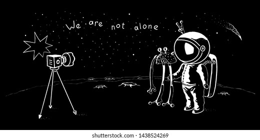 Cute astronaut and ufo vector characters posing for selfie shot. Spaceman adventure in the galaxy concept illustration