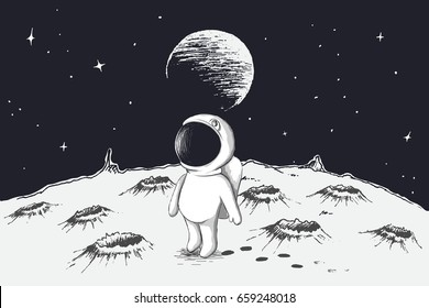 Cute astronaut walking on Moon.Earth is visible far away.Hand drawn style.Childish vector illustration
