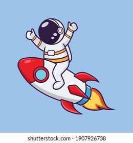 cute astronauts ride a rocket