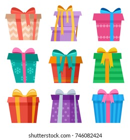 Cute asymmetric Christmas gift box collection for holiday background
