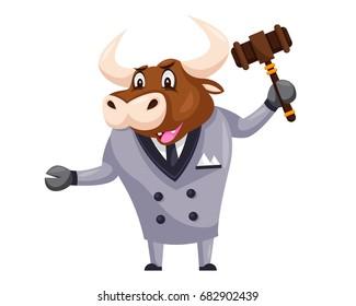 Cute Auction Animal Cartoon Character Illustration - Bull