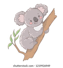 Cute Australian Koala Bear on a tree. Vector kid illustration. Perfect for design greeting cards, prints, posters