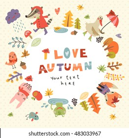 Cute autumn background with the characters . Vector illustration with cute animals