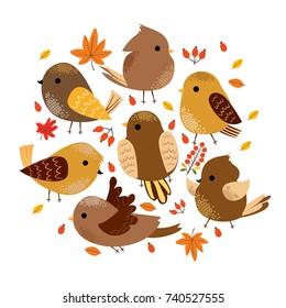 cute autumn birds