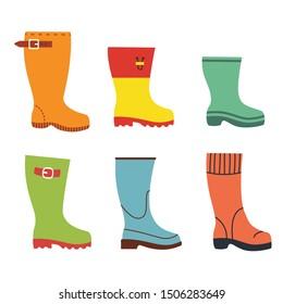 Cute autumn flat rubber boots set