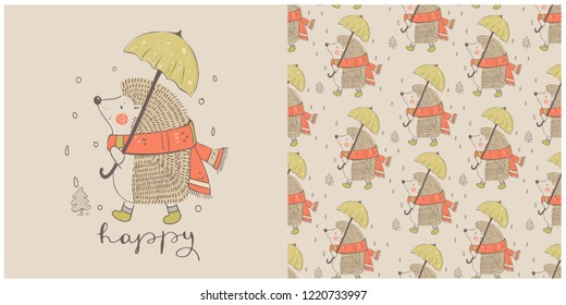 Cute autumn Hedgehog with umbrella, and seamless pattern. Hand drawn vector illustration.