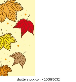 cute autumn leaves with space for copy. vector illustration