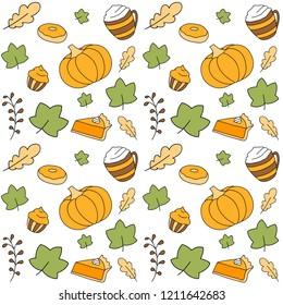 Cute autumn seamless background pattern with pumkin, falling leaves, pumkin pie, pumkin latte and other desserts.