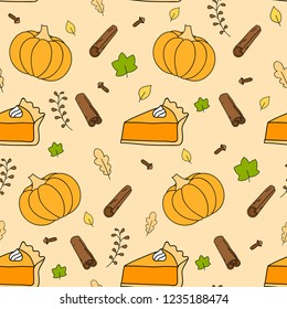 Cute autumn seamless background pattern with pumkin, falling leaves, pumkin pie and spices.
