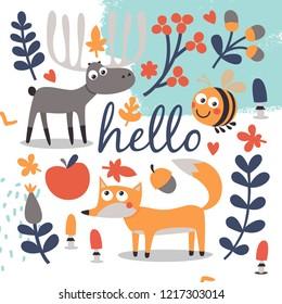 Cute autumn set of animals, deer, fox, bee, plant, leaf, apple, fruit, berry, acorn, mushrooms