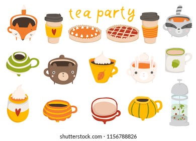 Cute autumn set with illustrations of mugs with hot cocoa, coffee, milk, pumpkin latte on white background. Perfect for greeting cards, party invitations, posters, stickers, pin, scrapbooking, icons