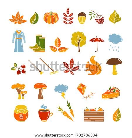 cute autumn symbols vector set fall stock vector royalty free