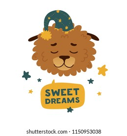 """Cute avatar design with a sleeping cartoon dog in in a star cap. The poster design is """"Sweet dream"""" with cheerful doggy. Beautiful print with a funny character puppy face and star decoration. Vector"""