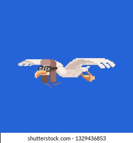 Cute avia bird. Pixel art style