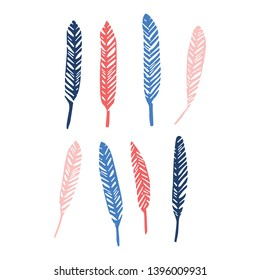 Cute avian feather silhouette cartoon vector illustration motif set. Hand drawn avian elements clipart for birdwatching blog.