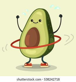 Cute Avocado cartoon character doing exercises with hula hoop. Eating healthy and fitness. Flat retro style illustration concept.