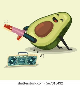 Cute Avocado cartoon character doing fitness exercise and listening boombox stereo cassette recorder. Healthy eating and sport. Vector illustration isolated on background.