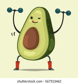 Cute Avocado cartoon character doing exercises with dumbbells. Eating healthy and fitness. Flat retro style concept illustration.