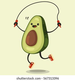 Cute Avocado cartoon character makes the jump rope exercises. Eating healthy and fitness. Flat retro style illustration concept.