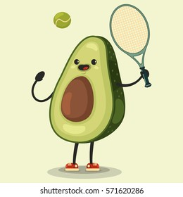 Cute Avocado cartoon character playing tennis. Eating healthy and fitness. Vector illustration isolated on background.