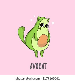 Cute avocado cat illustration. Cat design for greeting cards, prints, posters etc.